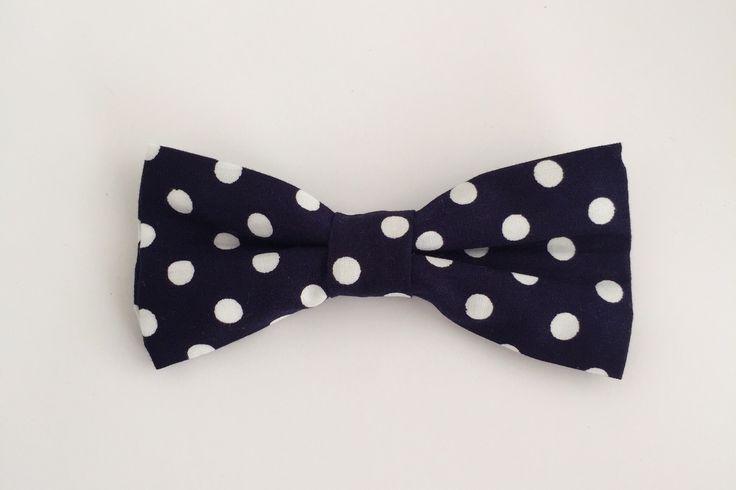 Big Navy Polka Dot Bow Tie