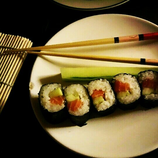 My first sushi was awesome.   Made by me ^^