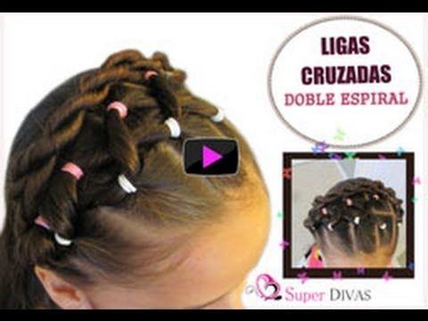 VIDEO Paso a paso - Peinado de ligas de colores y espiral doble. Facil y muy hermoso las para las ninas. VIDEO tutorial step by step of this little girls hairdo that uses elastics of two colors made by www.2superdivas.com