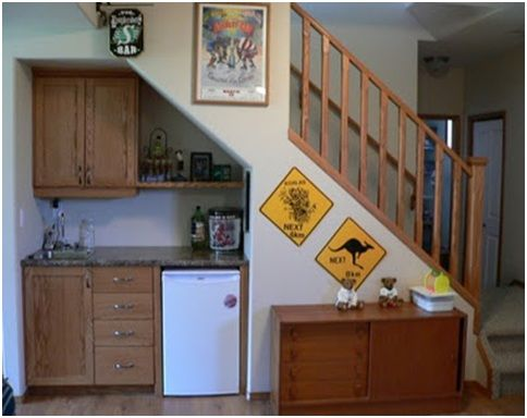Basement media built in with mini fridge   Kitchens under the stairs  Small kitchens  designsBest 25  Kitchen under stairs ideas on Pinterest   Under stairs  . Under Stairs Kitchen Design. Home Design Ideas