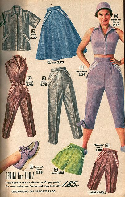 Aldens Spring and Summer catalog, 1954 vintage fashion style color photo print ad model magazine 50s blue brown lavender pedal pushers cigarette pants shirt skirt shoes shorts