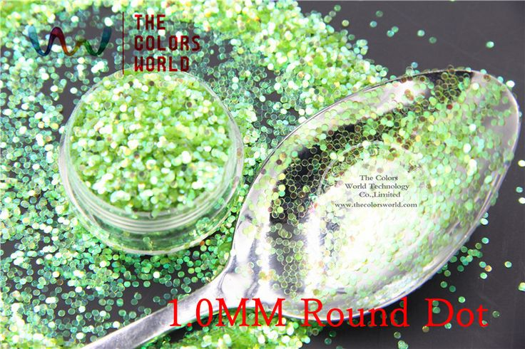 TCR10  American Fantasy Iridescent Light-Green color glitter dust Round Dot  Shape  for nail Art or other DIY decoration
