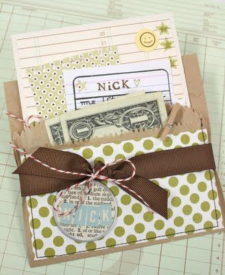brown paper bag pockets to hold card and cash