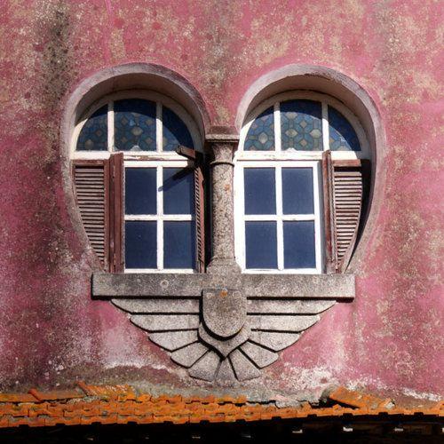 A heart-shaped ♥ love ♥ window south of Porto, Portugal  #pink #window #heart #love #portugal