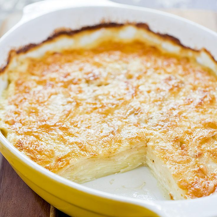 Cheesy au Gratin Potatoes Recipe - Cooks Country  This is not for those who worry about cholesterol problems (it's very rich), but it is delicious: the cheese crust on top is perfect.