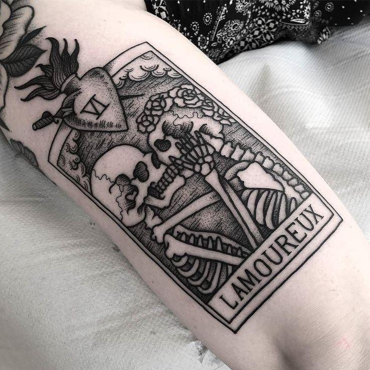 Lovers Tarot Card tattoo by @jackpeppiette at @insidertattoo in Edinburgh Scotland