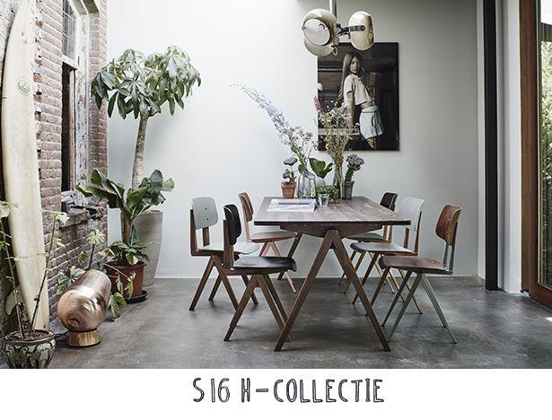 Eetkamerset met industriële en houten schoolstoelen voor een urban look.