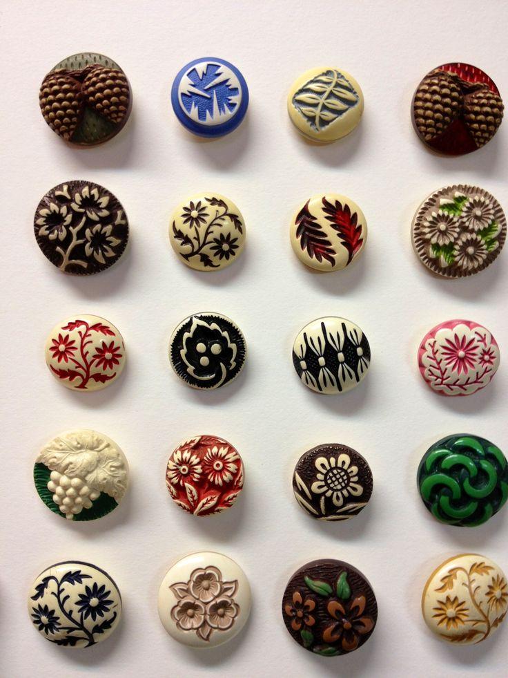 1930's Buffed Celluloid Buttons