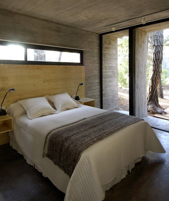 concrete minimalist home plan bedroom