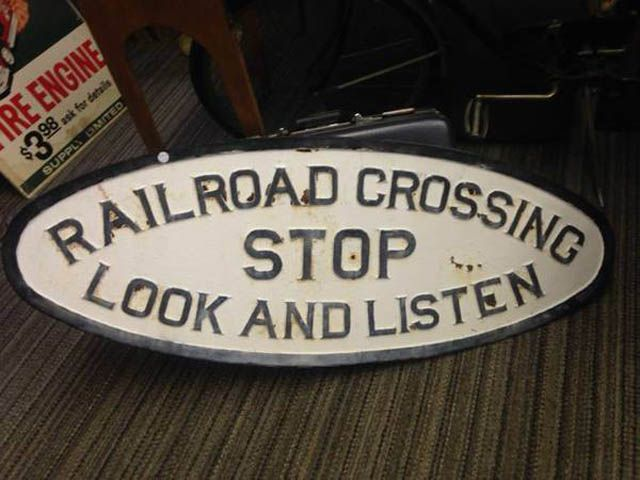 Antique Cast Iron Railroad Crossing Stop Look and Listen Sign Oval