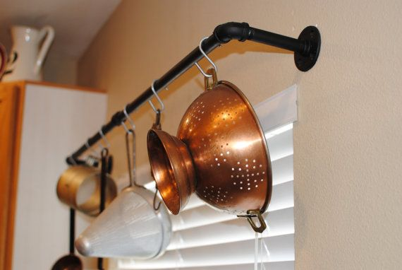 Industrial pot rack black pipe urban pan by EdnaFayeCreations