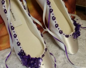 PURPLE Wedding Flats silk flowers, pearls, crystals, and ankle ribbons, Lace Up Ribbon, Satin Ballet Style  Slippers,Closed Toe, Deep Purple ~ PURRfect period shoes for a lot of eras