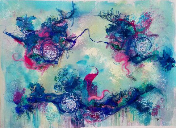 Art abstrait oeuvre originale  Ballet bleu'  par ChezPasserose