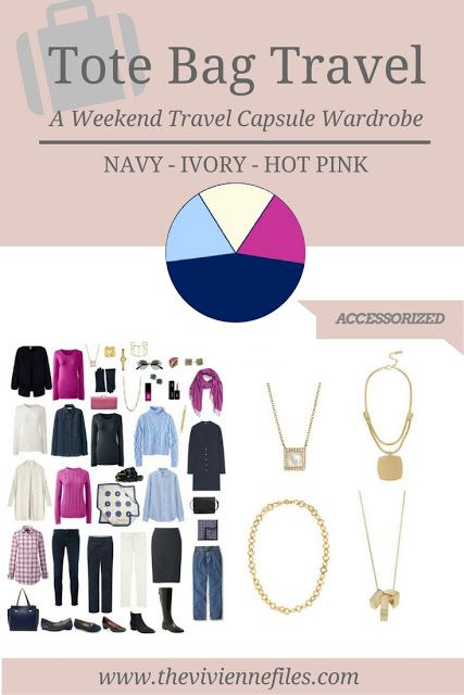 A travel capsule wardrobe with accessories in a navy blue, ivory, and hot pink color palette