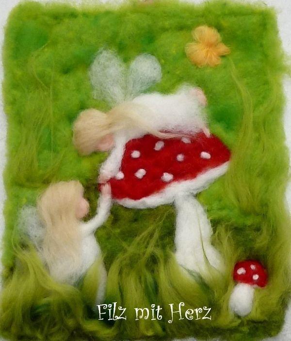 """Fliegenpilz - Wollbilder Filz mit Herz - """"filzmitherz"""" - Woll-Bilder und Dekoration aus Filz und Wolle Homepage"""