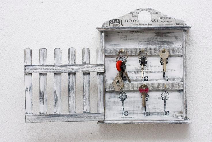 Wooden key box, Holder wardrobe,  Key cabinet, Key storage , Shabby chic