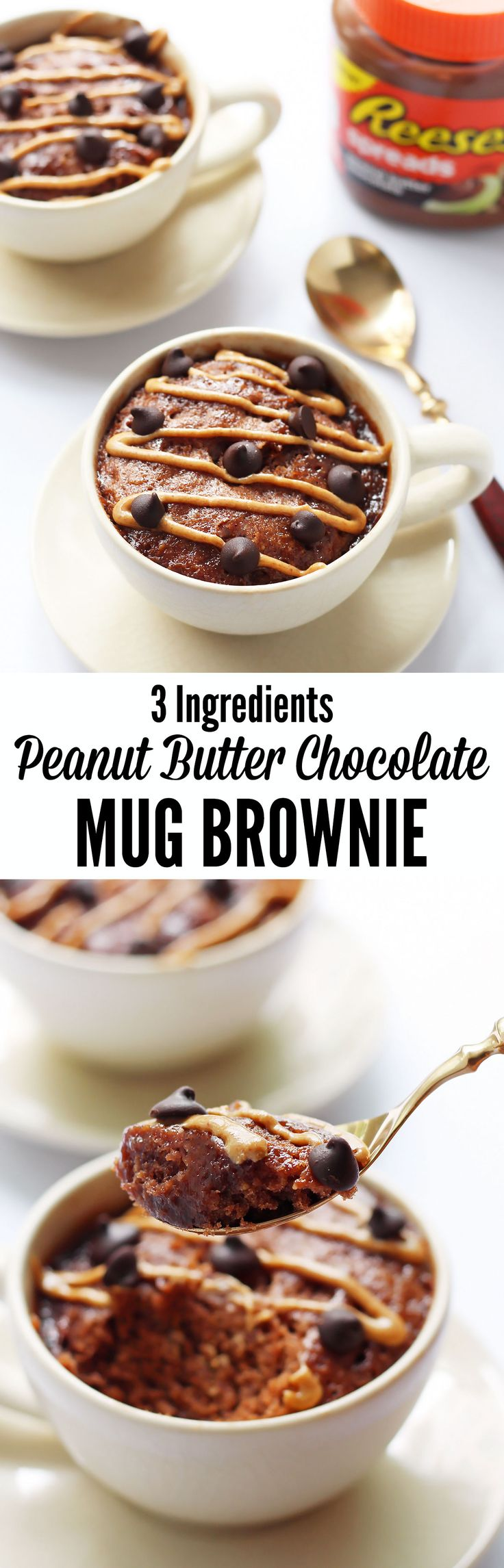 This 3 Ingredients Peanut Butter Chocolate Mug Brownie is incredible! A quick + easy recipe to satisfy dessert cravings in a flash (1 minute cook time).