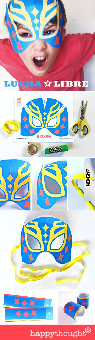 How to make a Lucha Libre mask - paper printable templates and easy step-by-step tutorial by happythought.co.uk