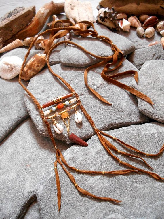"""Necklace """"NATIVE AMERICAN Boho Inspired"""" Leather, Larimar Beads, Quartz Beads, Agate beads, Cowrie shells, Bone hairpipe, Quartz hairpipes"""