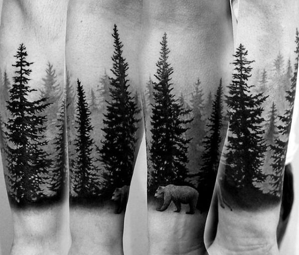 Cool Bear In Nature Pine Tree Forest Forearm Guys Sleeve Tattoos