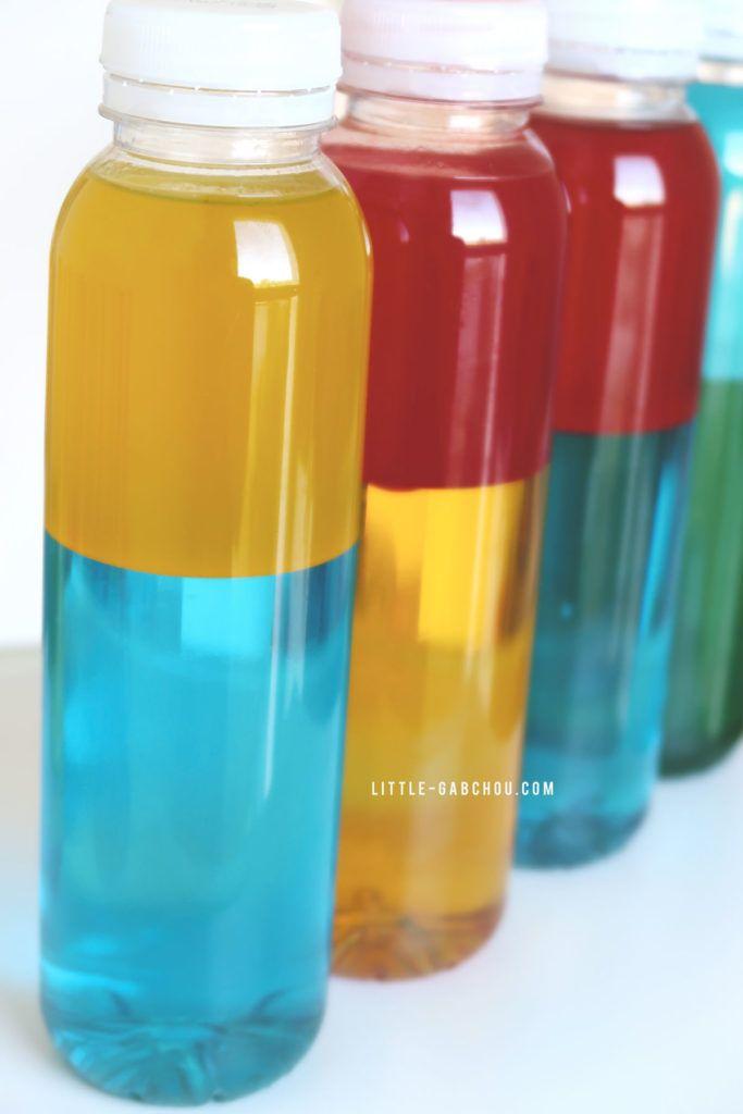 Bouteilles sensorielles bicolores à mixer pour former les couleurs secondaires