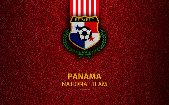 Download wallpapers Panama national football team, 4k, leather texture, North America, Panamanian Football Federation, logo, emblem, Panama, football