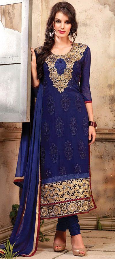 USD 44.78 Navy Blue Georgette Designer Salwar Kameez 42740