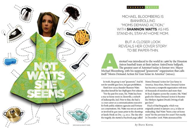 Gun control. Shannon Watts, Moms Demand Action, portrayed in sexist fashion by NRA magazine.