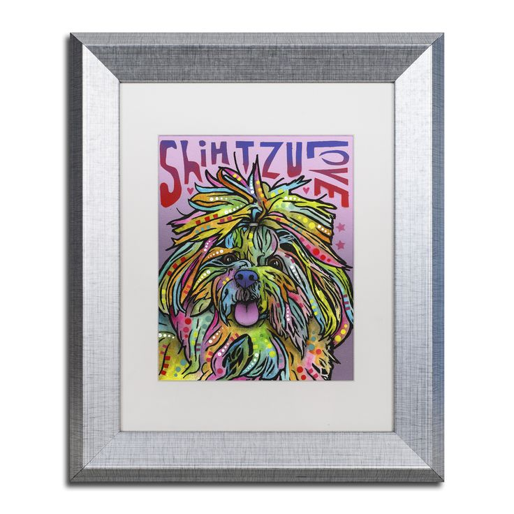 This ready to hang, matted framed art piece features a vibrant portrait of a Shih Tzu with Shih Tzu Love written around it. Art and animals. These two passions define Dean, a Brooklyn, New York-based