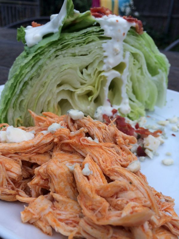 Buffalo Pulled Chicken + Bleu Cheese Wedge -- only 3-4 carbs per serving! #keto #lowcarb #atkins