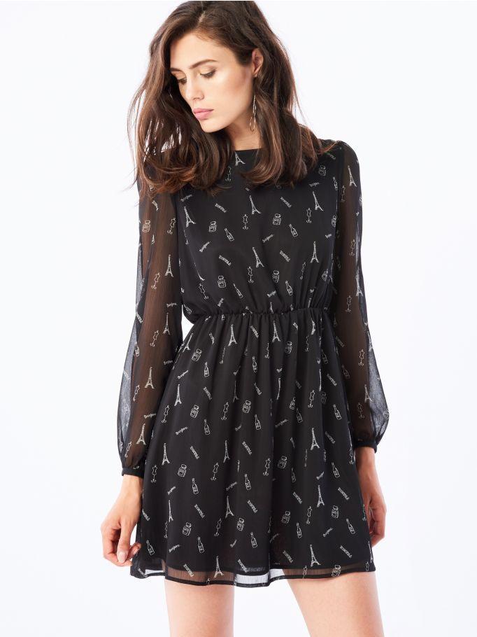 Sukienka z transparentnymi rękawami, MOHITO