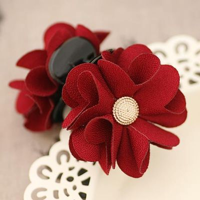 Tiny Thick Cotton Begonia Flower with Metal Button Hair Claw for Women