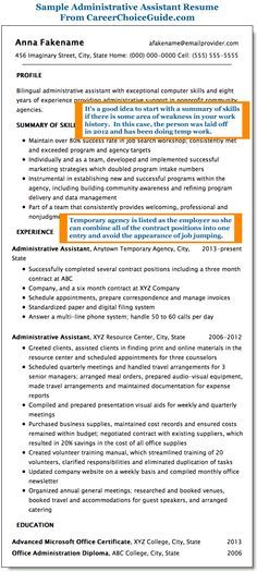 Combination style administrative assistant resume sample for someone who has worked a lot of contract positions through a temporary staffing agency.