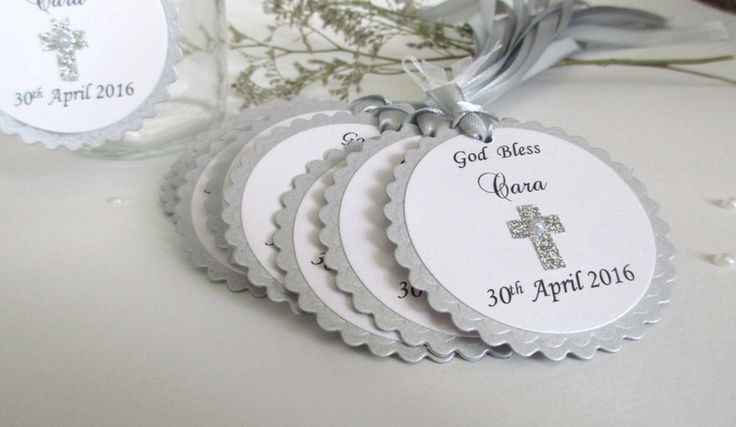 Christening Favours – Silver Baptism Favor Tags. 10 Thank you Tags. – a unique product by MagicalStart on DaWanda