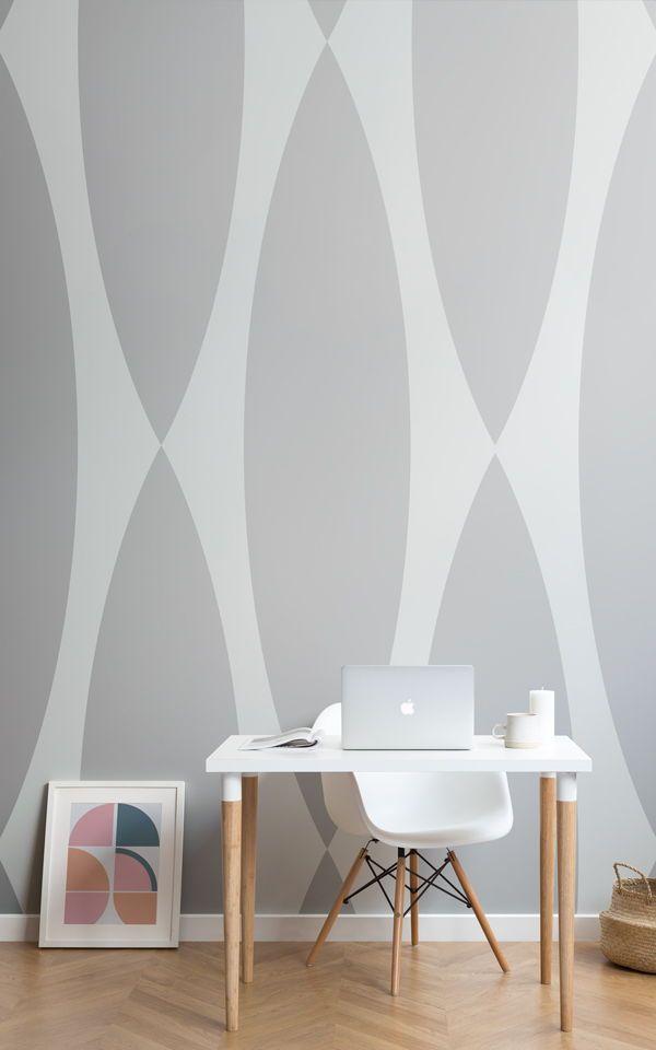Grey Retro Wallpaper Retro Pattern Muralswallpaper Home Decor Office Furniture Design Scandinavian Style Home