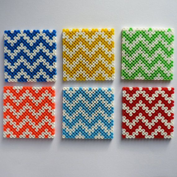 Coasters in Hama's pearls with cork twocoloured by CiLouBiSou, €23.55