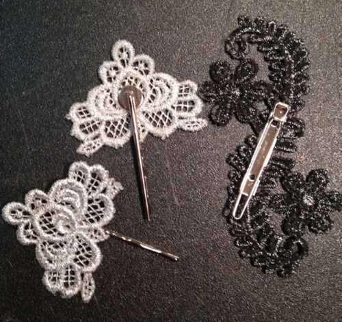 Black Tie DIY- How to stiffen lace, super simple and the lace could be used for earrings, hair pins, necklaces, the possibilities are endless!