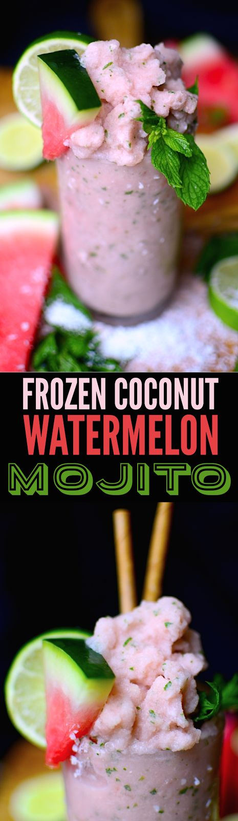 This is so refreshing on a hot summer day! THE mixed drink for summer: mint, lime, coconut cream, and frozen watermelon with coconut rum (great virgin too!)