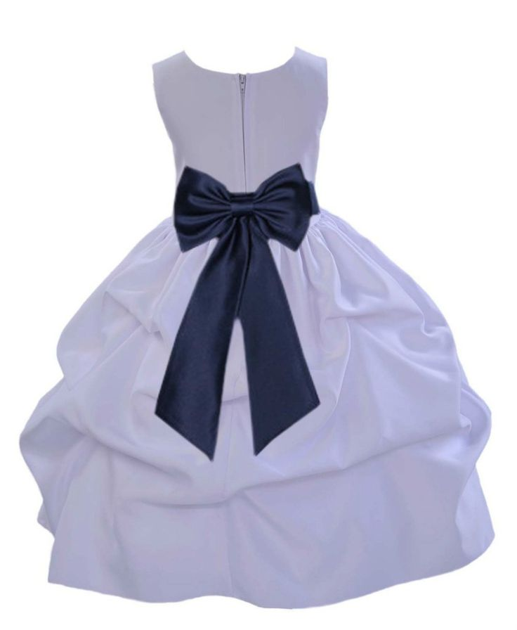 White Pick-up Satin Flower Girl Dress Princess Bridesmaid Beauty Pageant Special Occasions 208T4