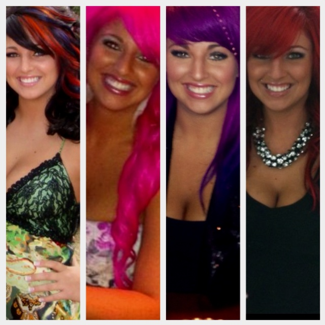 Some of my different hair colors over the last year.
