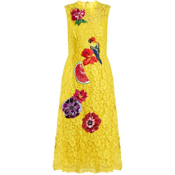 Dolce & Gabbana Embroidered cordonetto-lace dress (41,720 GTQ) ❤ liked on Polyvore featuring dresses, yellow, floral embroidered dress, beaded lace cocktail dress, lace cocktail dress, embroidery dresses and beaded dress