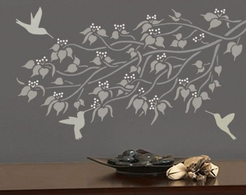 hummingbirds 3 wall stencils reusable easy diy interior wall design. beautiful ideas. Home Design Ideas