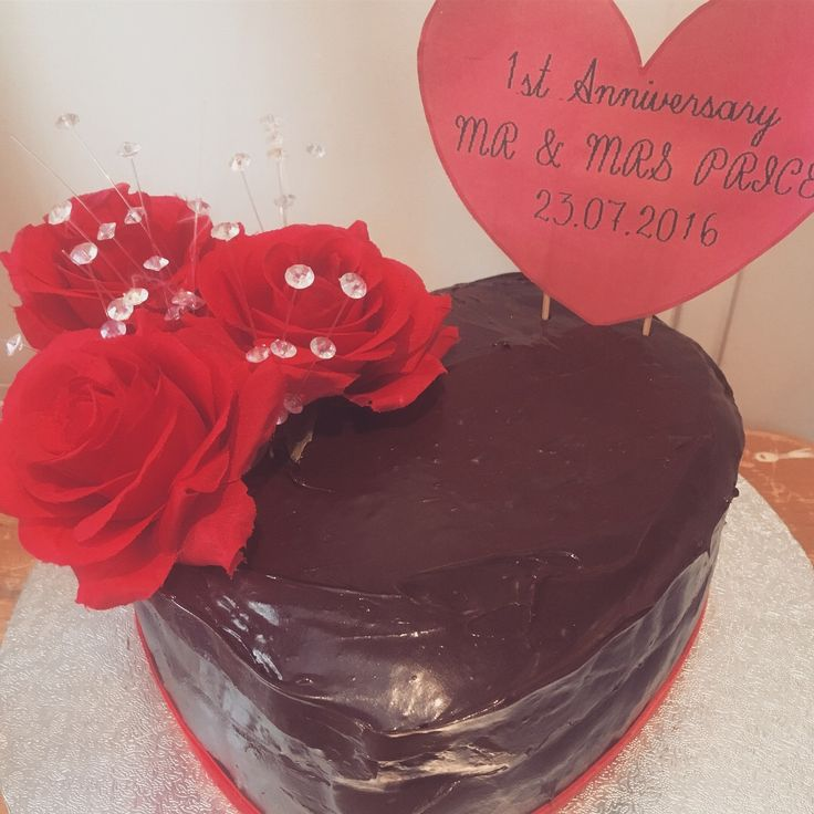 Anniversary cake, chocolate buttercream and rose decorations
