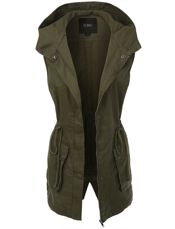 LE3NO Womens Military Anorak Sleeveless Jacket Vest with Hoodie