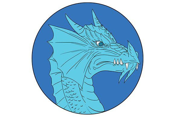 Blue Dragon Head Angry Circle  by patrimonio on @creativemarketDrawing sketch style illustration of a head of an angry blue dragon viewed from the side set inside circle on isolated background. #illustration  #BlueDragonHead