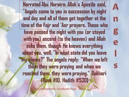 "Narrated Abu Huraira: Allah's Apostle said, ""Angels come to you in succession by night and day and  all of them get together at the time of the Fajr and Asr prayers.  those who have passed the ngiht with you  (or stayed with you) ascend (to the heaven) and Allah asks them,  though He knows everything about you well, ""In what state did you leave my slaves?"" The angels reply: ""when we left then they were praying and when we reached them,  they were praying.  ""Bukhari Book#10,Hadith 530."