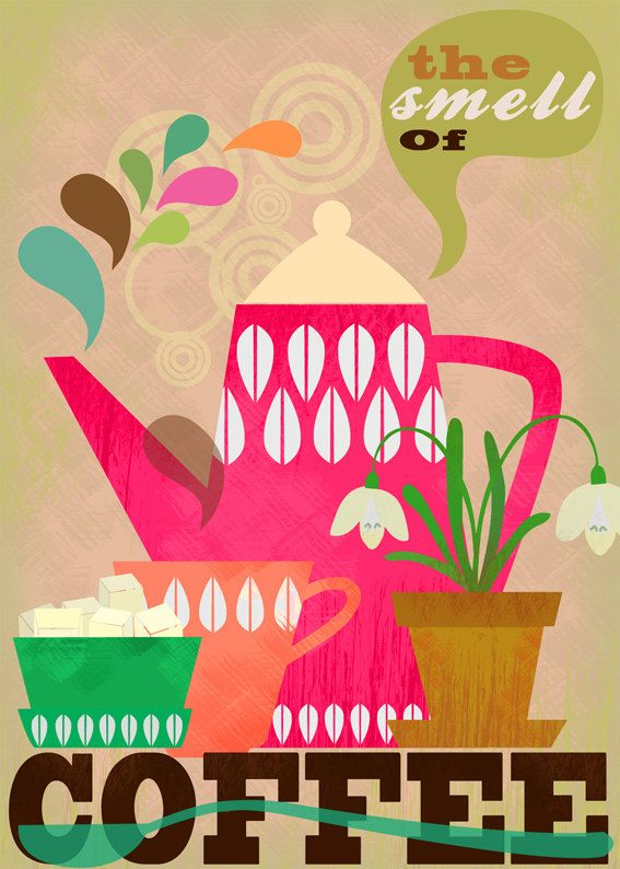 The smell of coffee art print.