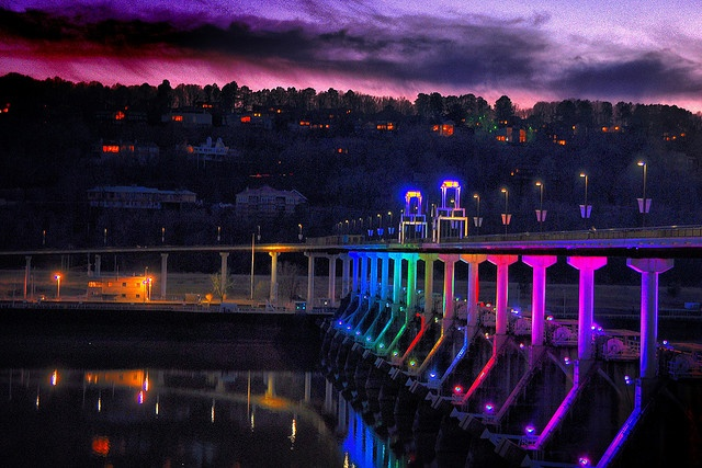 Big Dam Bridge by night in Little Rock