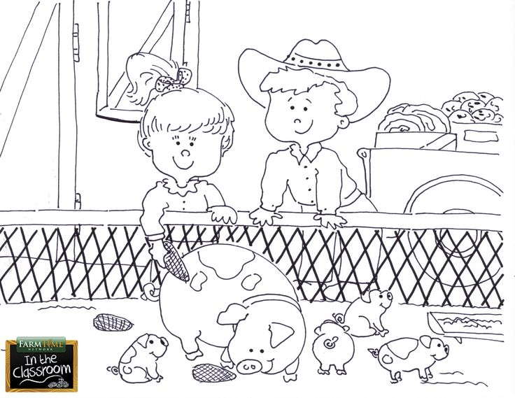 Oink oink! Free teaching tool -  printable Agricultural coloring page for kids. http://farmtimeclassroom.com/