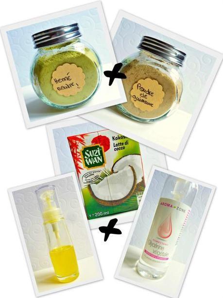 Masque capillaire fortifiant: henné neutre, guimauve et lait de coco